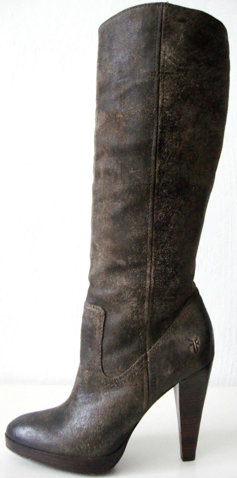 FRYE HARLOW CAMPUS Stiefel Damen Damen Damen Leder High Heel Luxus Stiefel Braun Gr.37  7M NEU  4d13fc