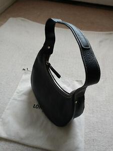 Longchamp-Black-Shoulder-Leather-Bag-Made-in-France