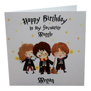 Details About Personalised Harry Potter Birthday Card With Ron And Hermione