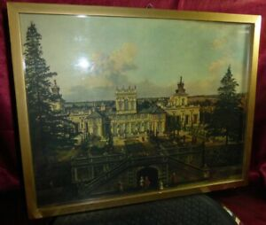 Vintage-Old-WARSAW-Castle-Wilanow-by-BERNARDO-BELLOTTO-Framed-Art-Print-Warszawa