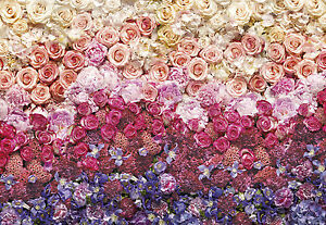 Giant Paper Wallpaper 368x254cm Wall Made Of Flowers Pink Red