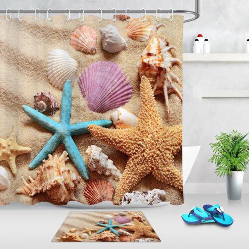 Beach Shell Starfish Marine Theme Fabric Shower Curtain Bathroom Accessories Set