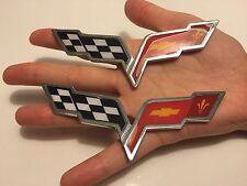 X2 pieces Cross Flags CHEVROLET corvette CAR TRUCK EMBLEM LOGO DECAL SIGN new*01
