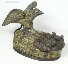 alte Spardose Adler im Nest mechanisch J.& E. Stevens Co. Guss