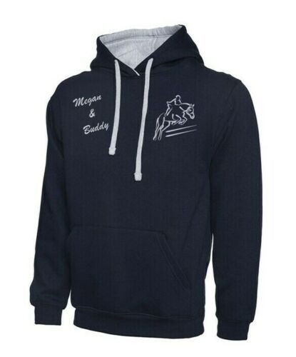 Personalised embroidered Hoodie Horse and Rider