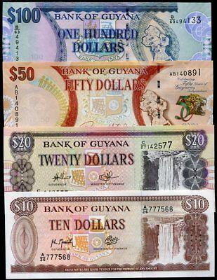 GUYANA SET 4 PCS 10 20 50 100 DOLLARS P 23 30 36 NEW RANDOM SIGN DATE UNC
