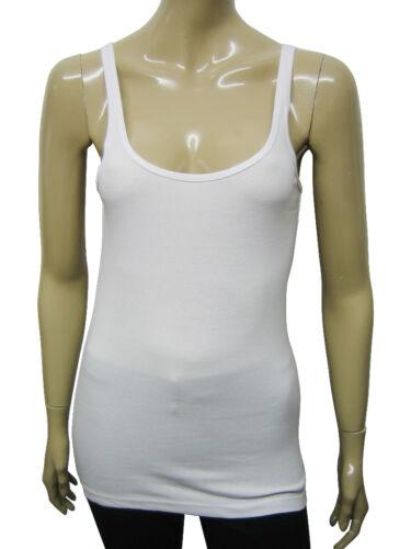 Short femme fox vest tank top coton doux blanc taille 8 à 14 dames A8