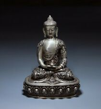"9"" Tibet Tibetan Buddhism White Copper Silver Gilt Siam Buddha Bowl Seat Statue"