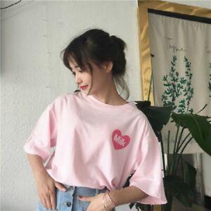 Women-Summer-Harajuku-Kawaii-T-shirt-Fashion-Pink-Loose-Short-Sleeve-Blouse-Tops