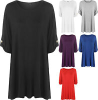 Plus Size Womens Plain Turn Up Button Short Sleeve T-Shirt Ladies Stretch Top