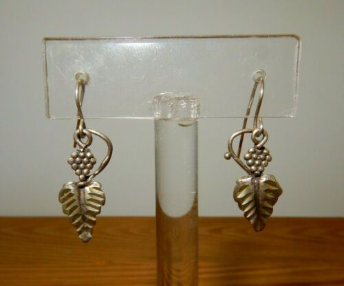 Vintage ExpressLimited Antique Brass Grape Theme Long Dangle Clip Earrings with Crystals
