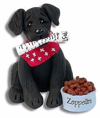 BLACK LABRADOR RETRIEVER PUPPY DOG Handmade Polymer Clay Personalized Ornament