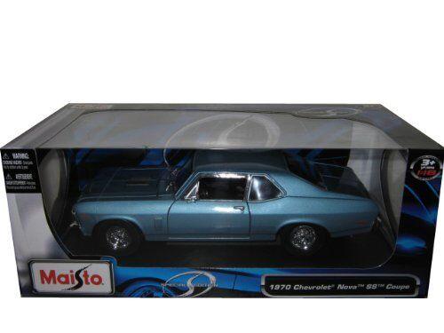 1/18 Scale Maisto Special Edition 1970 Chevrolet Nova SS Coupe Blau JC