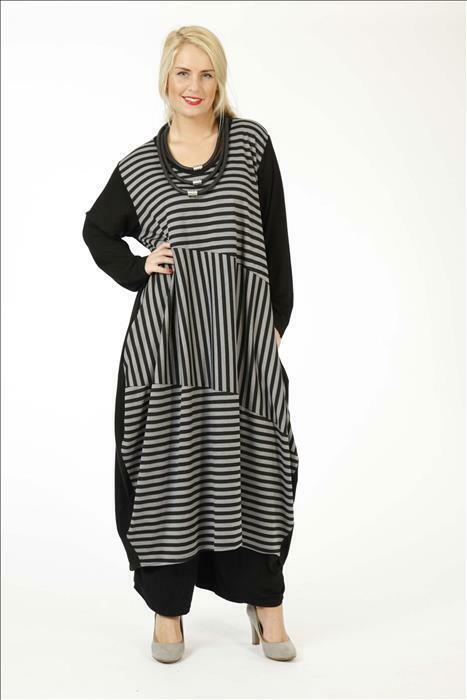AKH LAGENLOOK Ballon-Kleid Streifen schwarz grau XL-XXL-XXXL 46 48 50 52 54