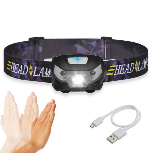 USB Rechargeable Sensor Head Torch Light LED Headlamp Headlight WorkHead Torches