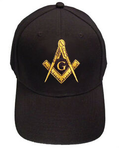a2cca27c7a67e Freemason s Baseball Cap - Black Hat with Golden Standard Masonic ...
