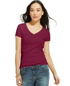 Tommy-Hilfiger-women-039-s-New-Short-Sleeve-V-Neck-Tee-Red-Size-S