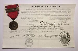 Medaglia-Battaglia-di-Verdun-1916-Modello-Vernier-Francia-e-Diploma-WW1