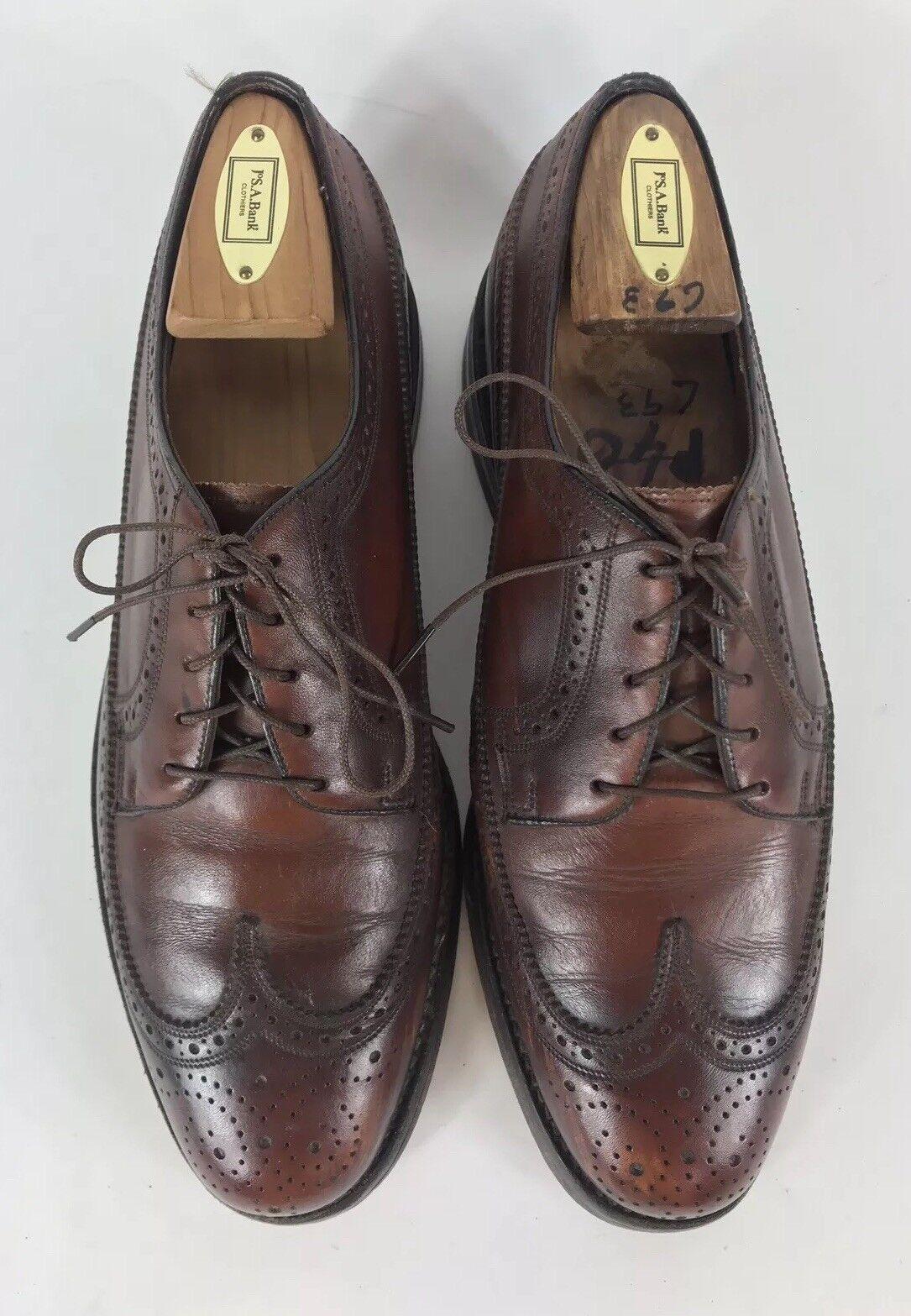 Florsheim Vintage Brown 5 Eye Wingtip Oxfords All Leather Size 8.5