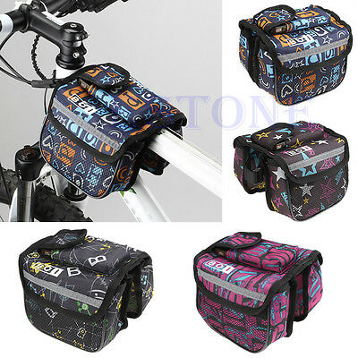 Outdoor Bike Cycling Bicycle Frame Pannier Front Tube Double Twins Bag Pack
