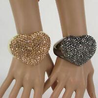 Women Love Heart Cuff Bracelet Fashion Jewelry Rhinestones Black / Gold Pink