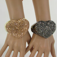 Women Love Heart Cuff Bracelet Fashion Jewelry Rhinestones Black / Gold Pink