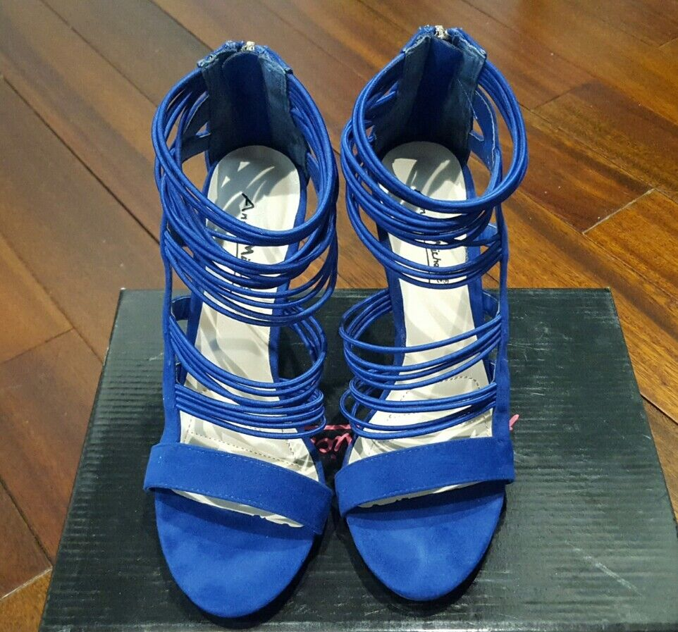 Women Ladies Michelle blue strappy heels Anne Michelle Ladies party club shoes sandals size 6.5 198526