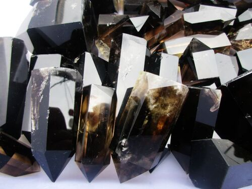 11LB Natural Smoky CITRINE Quartz Crystal Point Polished Wand Tower Healing
