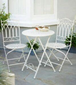3 Pieces Outdoor Indoor Bistro Set Cream Vintage Metal 1 Table And