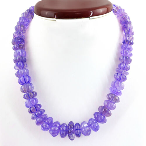 644.00 CTS NATURAL UNTREATED PURPLE AMETHYST ROUND CARVED BEADS NECKLACE DG