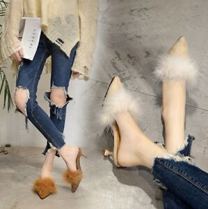 Fashion-Women-039-s-Mules-Sandals-Kitten-Heels-Pumps-Pointed-Toe-Casual-Suede-Shoes
