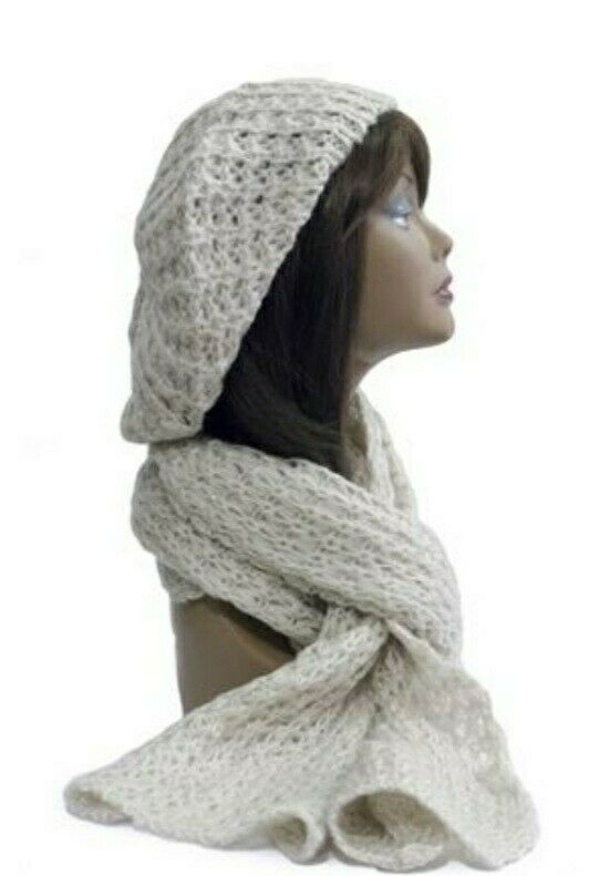 White Chunky Knitted Adults Slouch Hat & Scarf Set, Chunky Knit FREE P&P