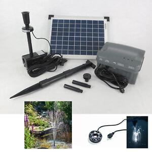 10 Watt LED Solar Tauch Teich Pumpe mit Akku Batterie Gartenteich ...