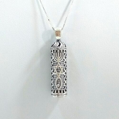 Details about  /925 Sterling Silver MESSIANIC Symbol MEZUZAH PENDANT with BOX Chain NECKLACE