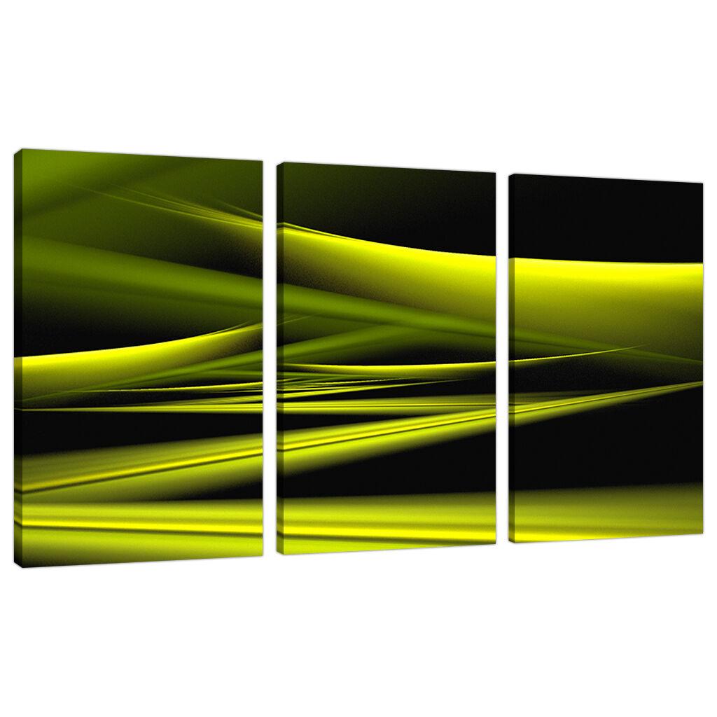 Triptych Triple 3 Abstract Canvas Lime Grün Grün Grün Modern Wall Art Set 3047 92975b