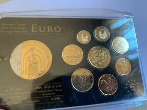 coffret serie euro plaqué or pur 24 carats andorre