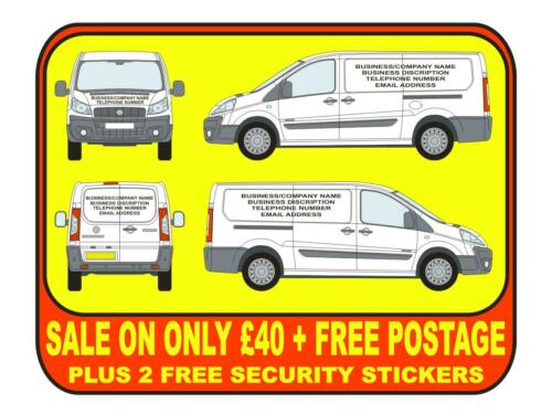 FIAT SCUDO Vehicle Sign Writing Vinyl lettering plus 2 free stickers