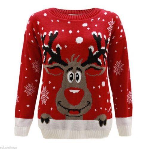 Bambine Ragazzo Lavorato a Maglia Renna Natale Rudolf Natale Novità Maglione Pullover Top