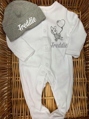 Babygrow sleep suit hat set white blue grey baby boy girl any name