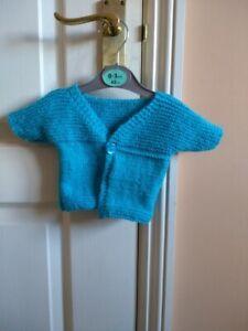 Grosses Soldes Tricoté à La Main 0-3 Mois Baby Cardigan Turquoise-afficher Le Titre D'origine Haute RéSilience