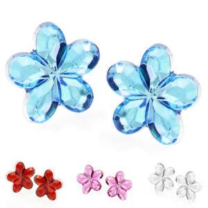 Women's Kids Children Hypoallergenic Crystal Flower Stud Earrings Gift Present