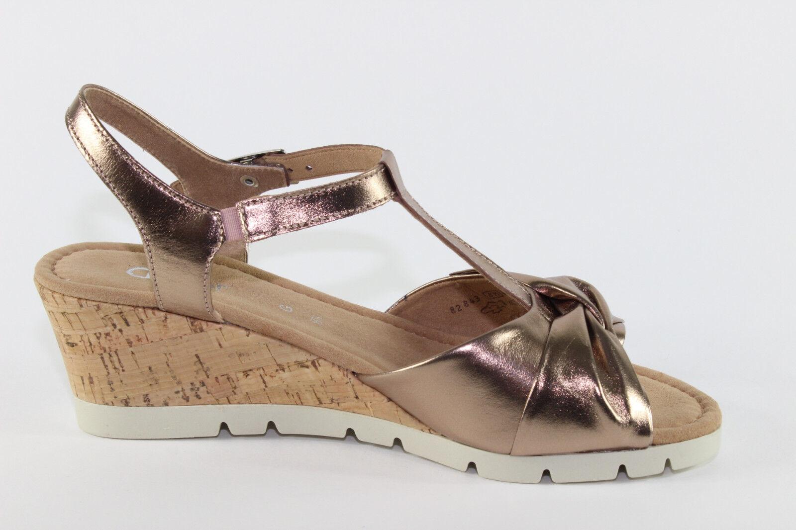 Gabor 843.94, Sandalette mit Metallic Leder u. Korkabsatz, Übergröße Damenschuhe Übergröße Korkabsatz, 8f5623