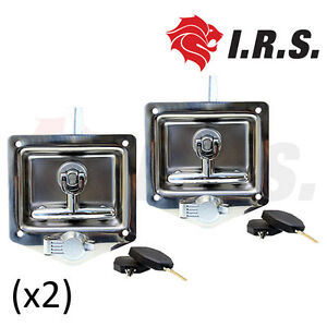 2-x-Recessed-Stainless-Steel-Folding-Drop-T-Tool-Box-Handle-Ute-Caravan-Lock