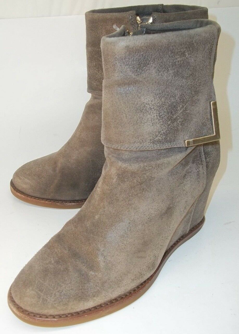 Anthropologie Wo's Ankle Boots Booties US 7.5 M brown Suede Zip Wedge distressed