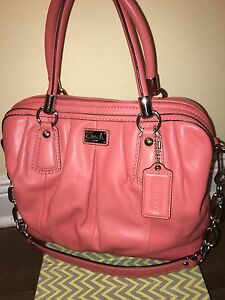 af92e9352c4e Image is loading Coach-Kristin-Pleated-Pink-Coral-Leather-Shoulder-Leather-