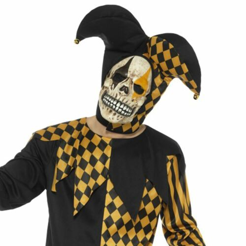 Adult Evil Jester Costume Gold /& Black Mens Halloween Fancy Dress Outfit New