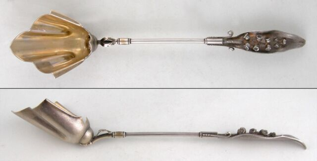 Sterling Wood & Hughes LILY OF THE VALLEY chocolate stirrer VERMEIL(Ca. 1870-80)