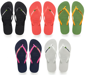 timeless design fb0fa 8a8c2 Details about WOMENS HAVAIANAS SLIM BRASIL LOGO FLIP FLOPS