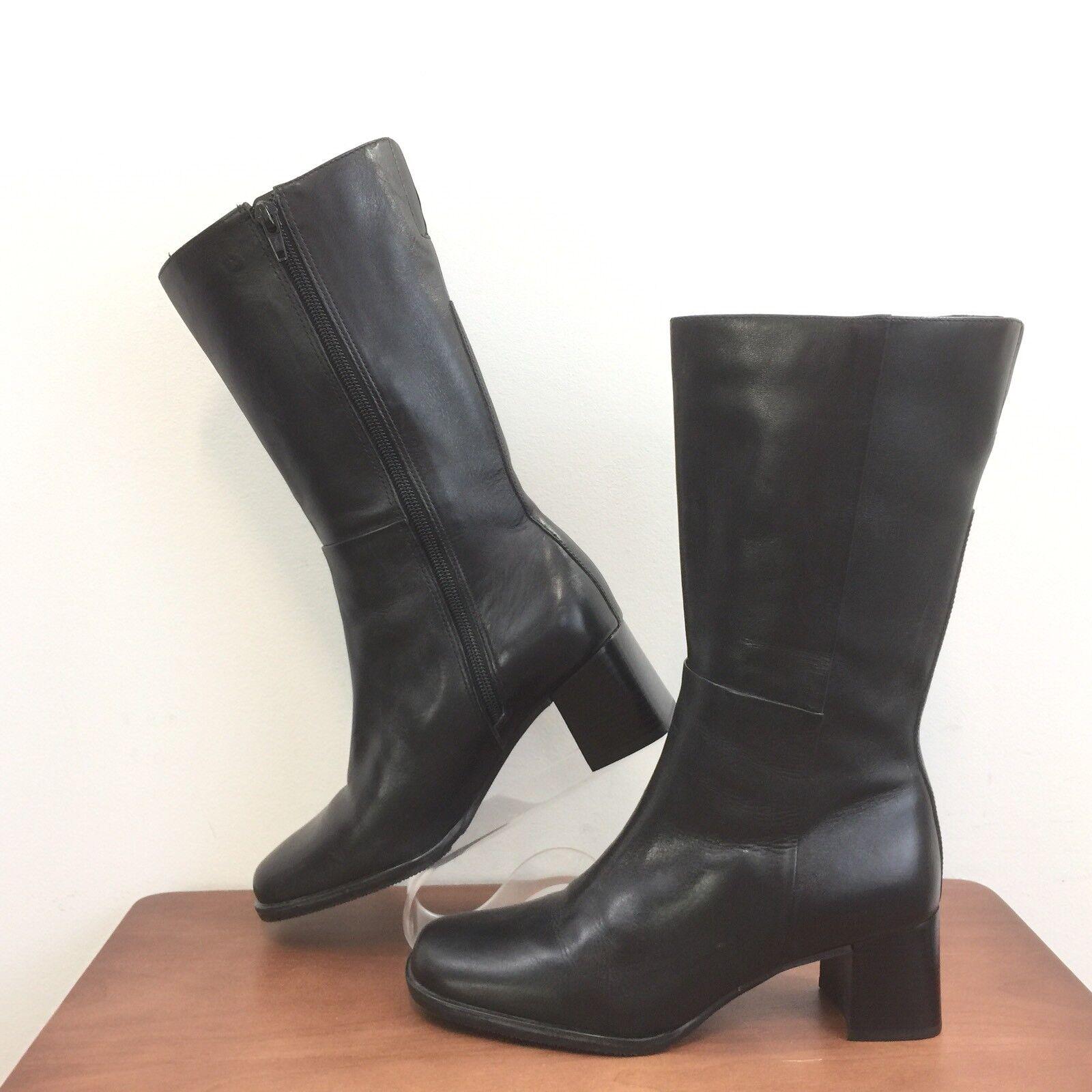 Easy Spirit Verys Black Leather Boots Side Zip Flex Sole Great Looking Womens 6B
