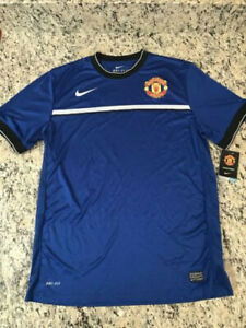cheaper 8ba86 4a7c8 Details about BNWT Nike Manchester United Training Blue Short Sleeve Jersey  Dri-Fit Large